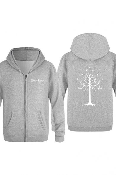 Tree of Gondor Letter Printed Mens Basic Long Sleeve Zip Up Hoodie