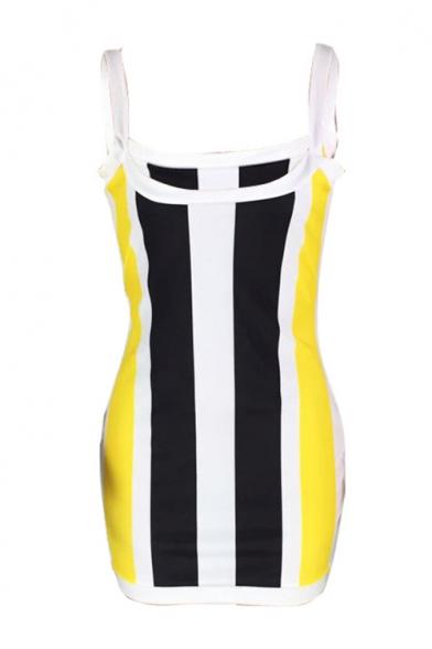 Women's Color Block Stripe Straps Sleeveless Mini Bodycon Dress