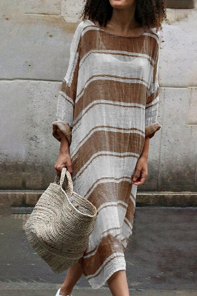 Women's Hot Sale Color Block Striped Pattern Round Neck Long Sleeve Maxi Dress