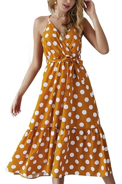 Women's Sleeveless V-Neck polka dot Printed Bow-Tied Waist Midi Beach Slip Dress