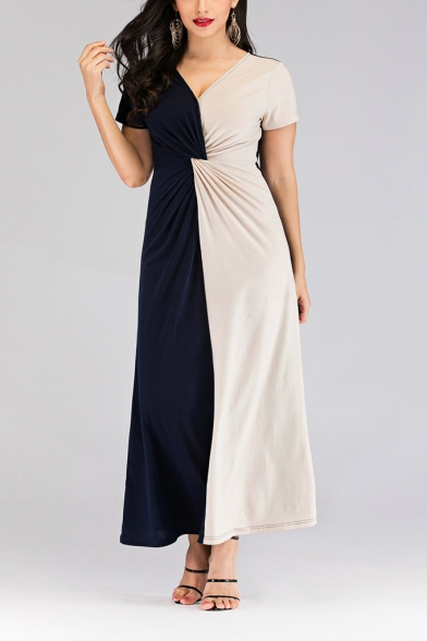 Women's Plus Size Elegant V-Neck Short Sleeve Navy and Beige Colorblock Maxi Dress