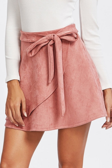 Women's Popular Pink Solid Color Bow-Tied Waist Mini A-Line Skirt