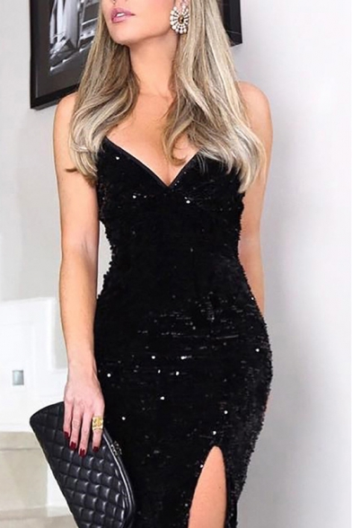 Women's Sexy Solid Color V-Neck Sleeveless Unique Sequinned Detail High Waist Maxi Bodycon Bandeau Black Dress