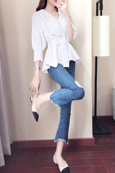Women's Sexy V-Neck Three-Quarter Sleeve Plain Ruffle Detail Gathered Waist Chiffon Blouse Top