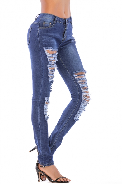 Women's Trendy Distressed Ripped Detail Blue Skinny Fit Jeans