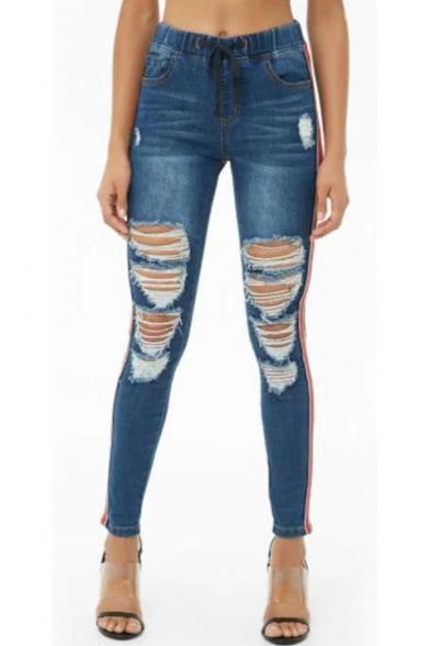 Women's Trendy Stripe Side Drawstring Waist Slim Fit Blue Ripped Jeans