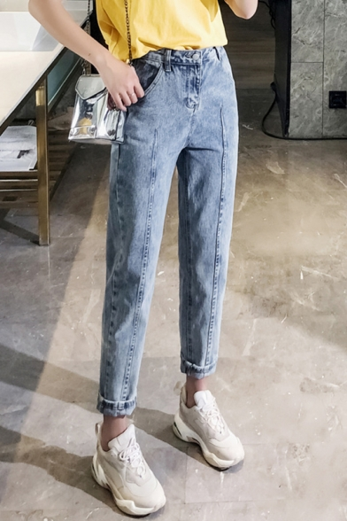 Women's Vintage Blue High Rise Rolled Cuff Casual Harem Carrot Jeans