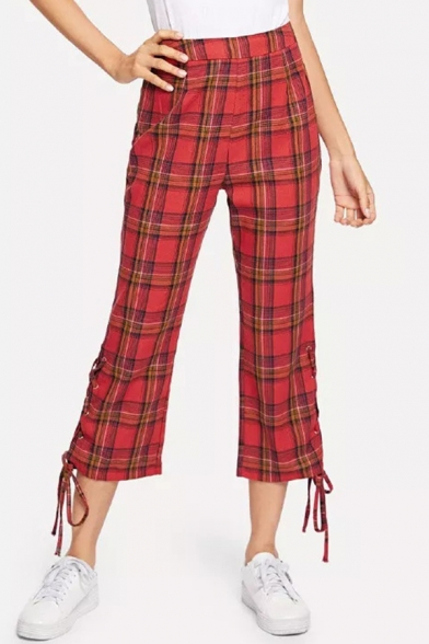 Women Vintage Red Plaid Check Print Tie-Up Side Cropped Flare Pants