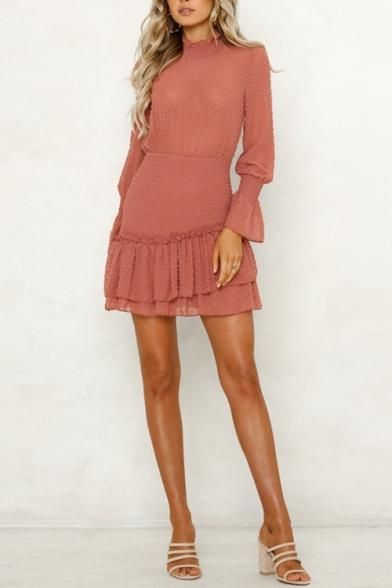 Womens New Fancy Stand Collar Long Sleeve Polka Dot Mini A-Line Ruffled Dress