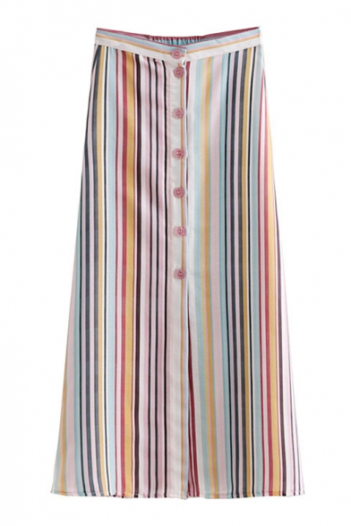 Womens New Stylish High Rise Colorful Stripe Printed Button Down Long A-Line Skirt