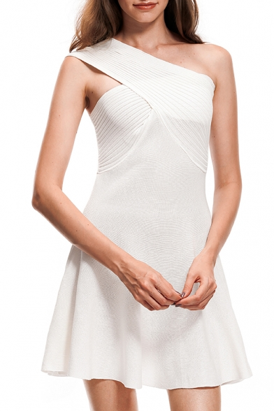 Womens Summer Fashion Solid Color One Shoulder Sleeveless Mini A-Line Party Dress