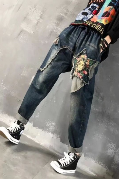 Womens Tribal Print Funny Star Floral Face Embroidery Baggy Blue Jeans