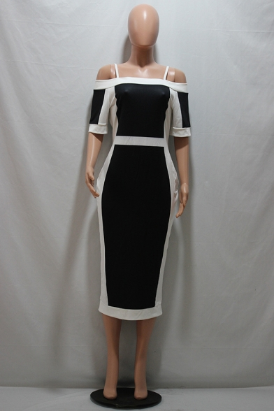 Black and White Color Block Spaghetti Straps Short Sleeve Split Back Midi Bodycon Dress
