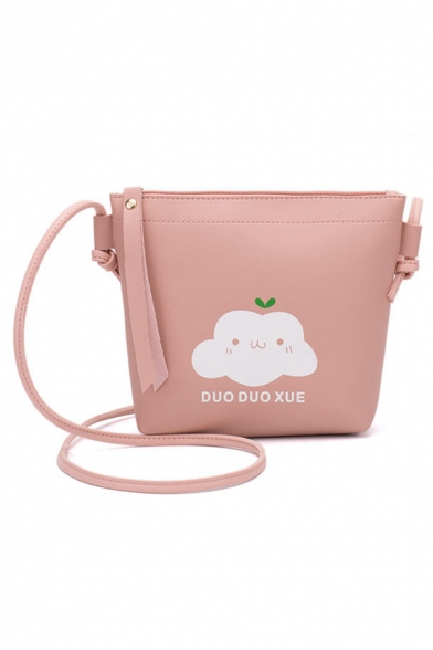 Cute Cartoon Letter Printed Crossbody Purse with Long Strap 18*5.5*17.5 CM
