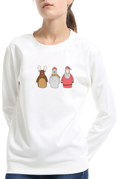 Cute Cartoon Santa Claus Basic Crewneck Long Sleeve Pullover Sweatshirt