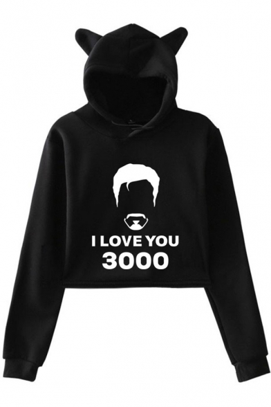 Cute Cat Ear Design Popular Figure Letter I Love You 3000 Long Sleeve Cropped Hoodie, Black;dark navy;pink;white;gray, LM521679