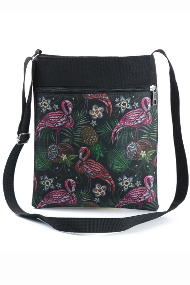 Fashion Flamingo Floral Plants Printed Black Shoulder Messenger Bag 22.5*27 CM