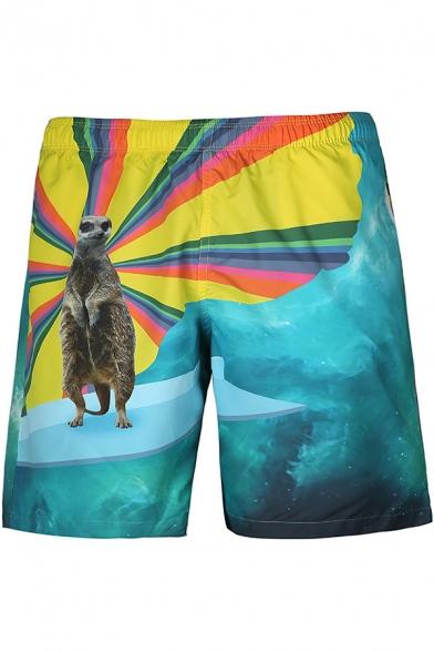 Guys Stylish Animal Printed Summer Surf Beach Swim Trunks with Lining
