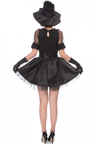 Halloween Black Witch Cosplay Costume Mesh Short Sleeve V-Neck Mini A-Line Dress