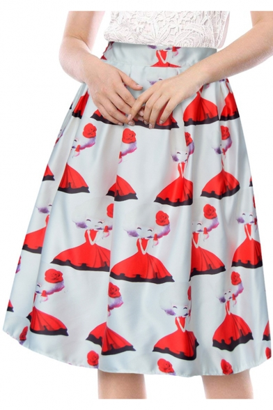 Lovely Allover Cartoon Girl Pattern Retro Vintage Midi A-Line Swing Skirt