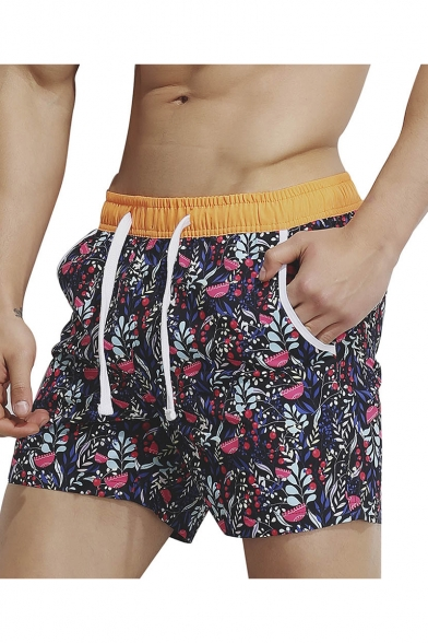 Men's Summer Red Leaf Printed Drawstring Waist Beach Shorts Swim Shorts