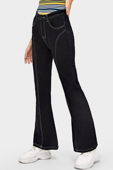 New Fashion Contrast Stitching Womens Black Flared Jeans