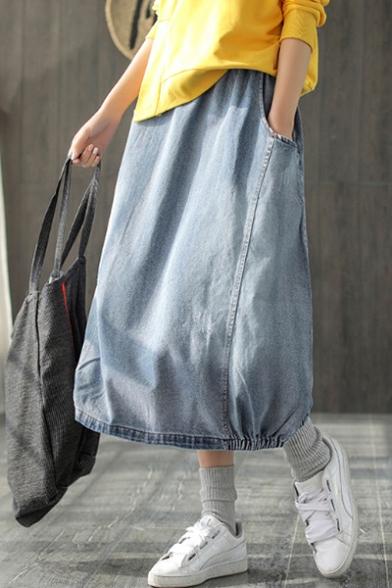 New Fashion Elastic Waist Solid Color Loose Casual Long Balloon Bubble Denim Skirt