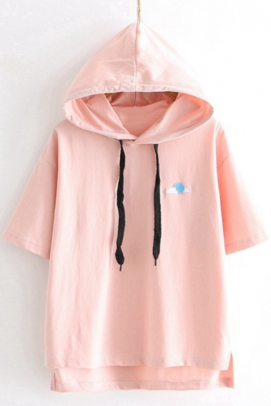 Summer Cute Sun Moon Embroidery Short Sleeve Basic Loose Hooded T-Shirt