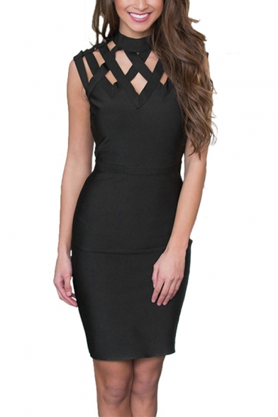 Summer New Style Sexy Plain Hollow Out Collared Sleeveless Detail Slim Fit Mini Pencil Black Dress