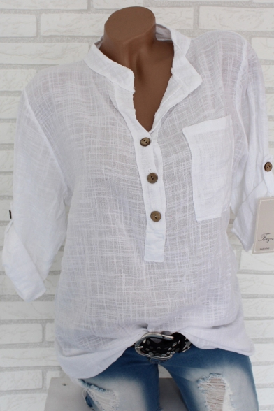 Women's Basic Simple Plain Long Sleeve Button Front Casual Blouse Top