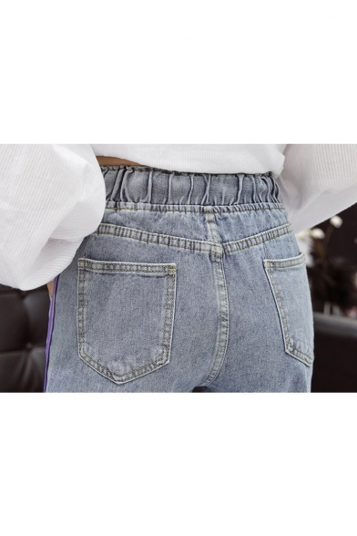 Women's Fashion Drawstring Waist Stripe Side Ripped Straight Fit Light Blue Jeans