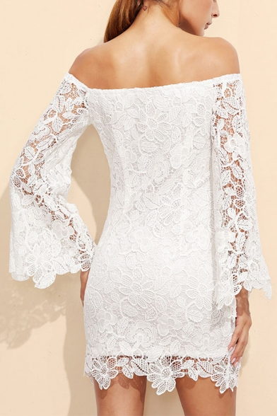 Women's Sexy Off The Shoulder Long Sleeve Plain Print Lace Patchwork Mini Nightclub White Dress