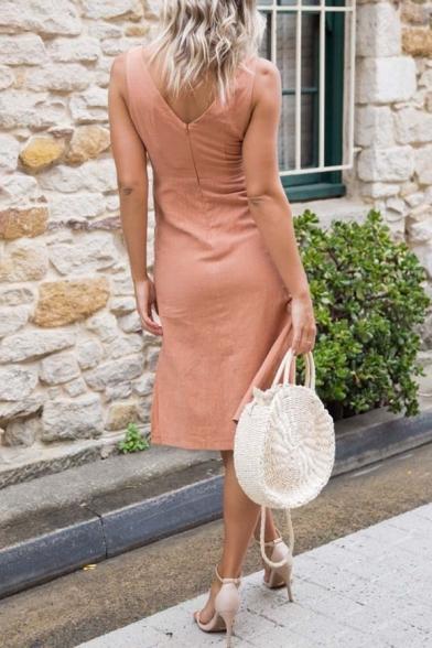 Women's Summer New Trendy Solid Color V-Neck Sleeveless Button Detail Midi slit Tank Dress