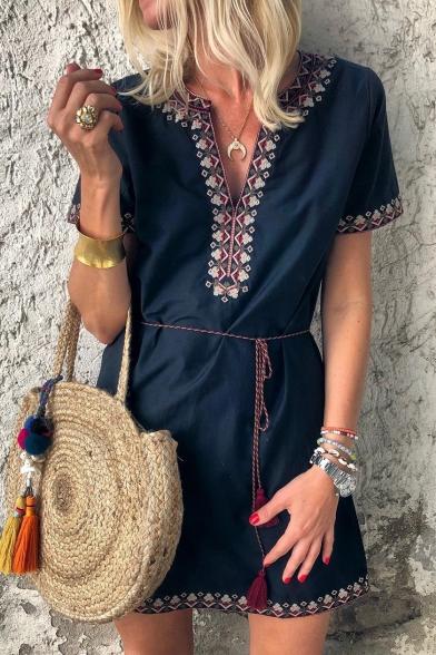 Women's Summer Tribal Printed Hem V-Neck Short Sleeve Tied Waist Mini A-Line Navy Dress