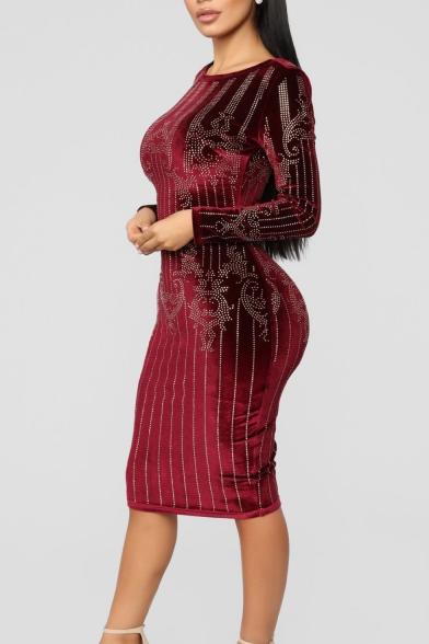 Womens Long Sleeve Round Neck Hot Drill Velvet Bodycon Midi Dress