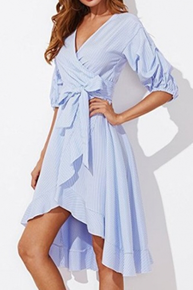 Womens Trendy Striped Printed Puff Sleeve Surplice V-Neck Ruffled Midi Wrap Dress