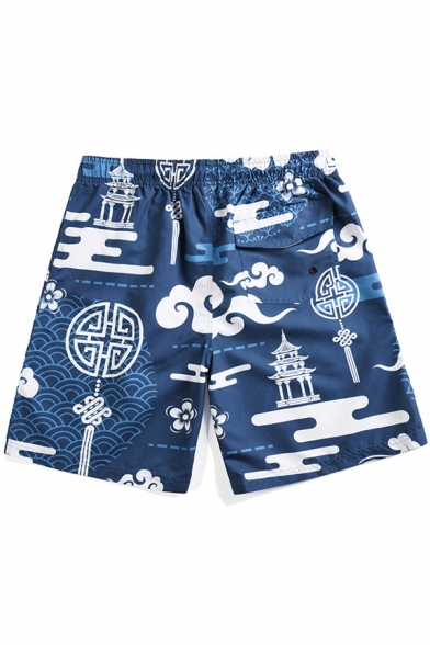 Chinese Style Retro Blue Cloud Printed Men's Lounge Beach Swim Trunks with Pocket