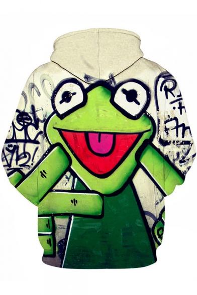 Cute Cartoon Green Frog Printed Unisex Casual Loose Hoodie