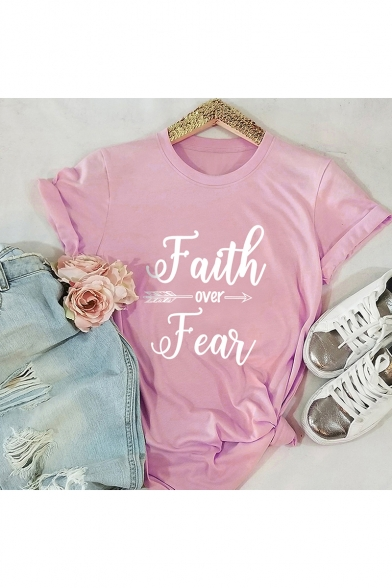 Faith Over Fear Popular Street Letter Printed Short Sleeve T-Shirt