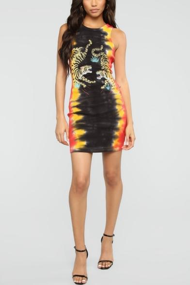 Fashion Tie Dye Tiger Print Round Neck Sleeveless Mini Tank Dress