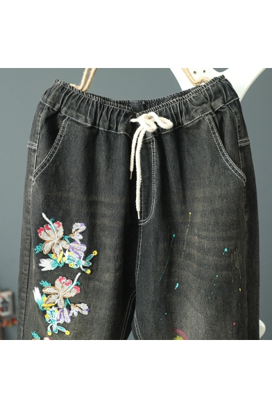 Girls Chic Floral Embroidered Patched Rolled Cuff Black Harem Jeans