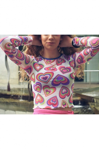 Girls Summer Cute Allover Heart Printed Pink Long Sleeve Cropped Mesh T-Shirt