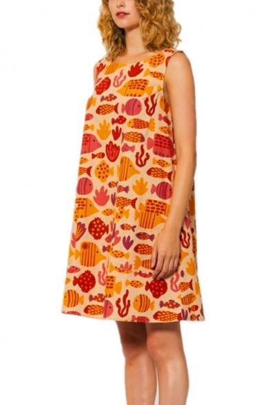 Girls Summer Lovely Cartoon Printed Round Neck Sleeveless Mini Tank Line Dress