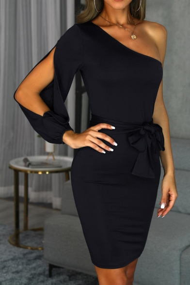 Ladies Basic Solid Color Sexy One Shoulder Split Long Sleeve Tied Waist Mini Bodycon Dress