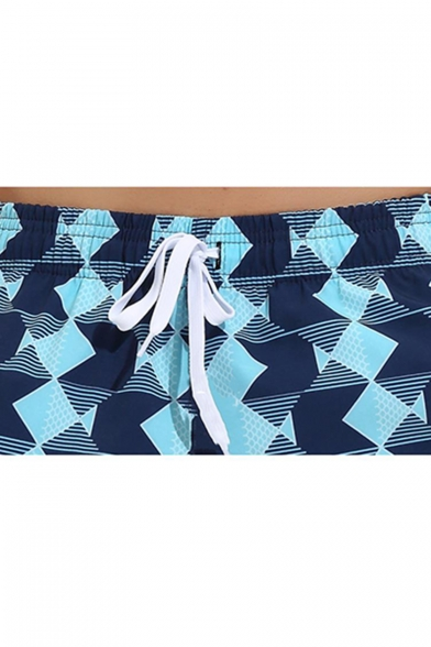 Mens Trendy Blue Geometric Printed Drawstring Waist Loose Casual Beach Swim Board Shorts