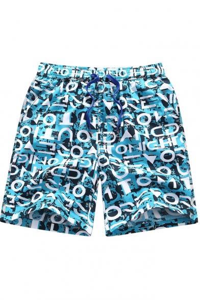 New Fashion Blue Letter Graffiti Drawstring Waist Mens Quick Dry Swim Trunks