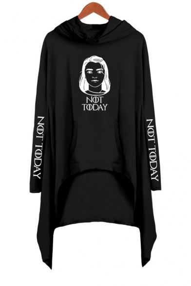 New Popular Figure Letter NOT TODAY Printed Long Sleeve Casual Loose Asymmetrical Dress