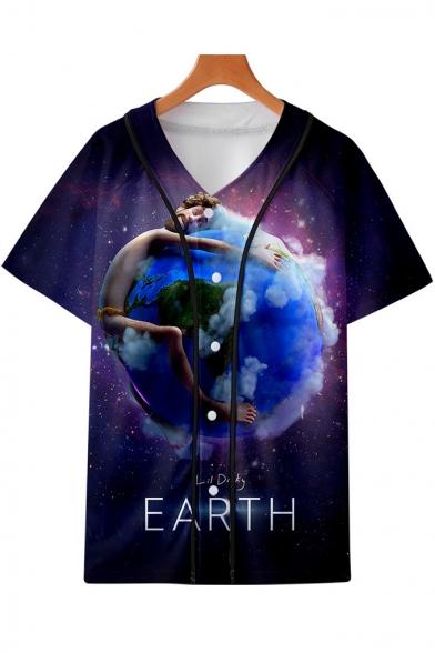 Purple Galaxy Earth Print V-Neck Short Sleeve Button Down Baseball Shirt