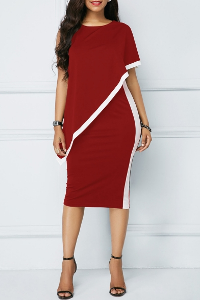 Sexy Hot Style Round Neck Short Sleeve Hollow Out Plain Print Stripes Side Slim Fit Midi Pencil Party Dress