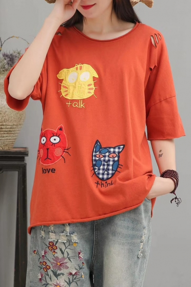 Summer New Style Cartoon Cat Printed Embroidered Half Sleeve Round Neck Cotton T-Shirt For Women